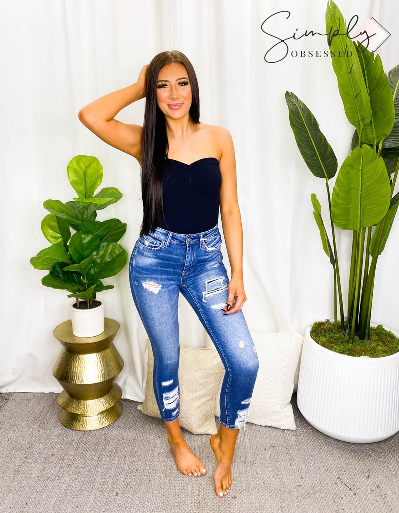 Vervet - High Rise Distressed Patched Crop Skinny Jeans