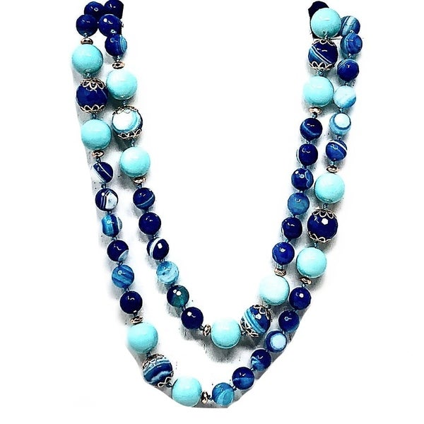Long Ocean Blue Beaded Scalloped Embellishment Necklace