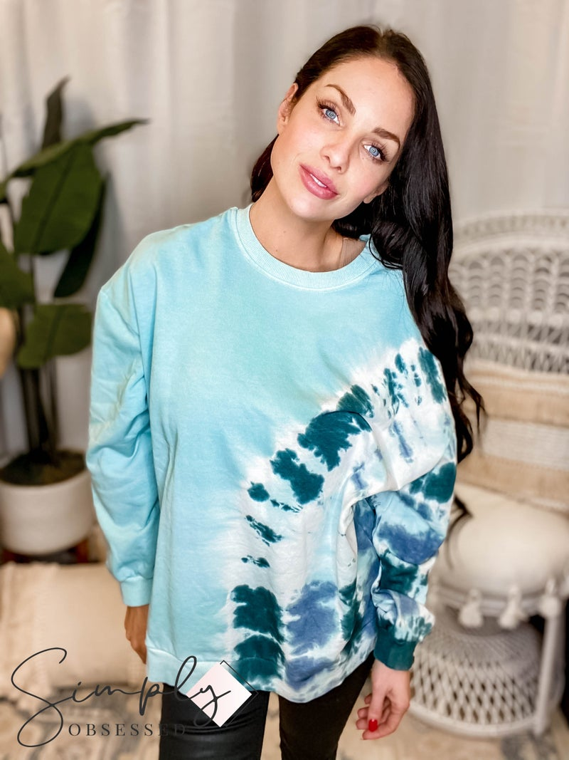 Wishlist - Oversized long sleeve round neck tie dye sweater
