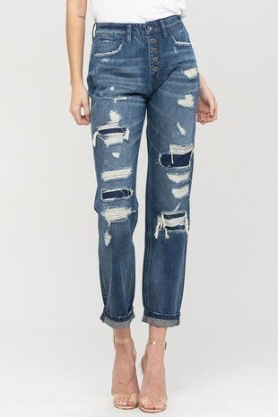 Vervet - Heavily Distressed and Patched Boyfriend Jean with Single Cuff