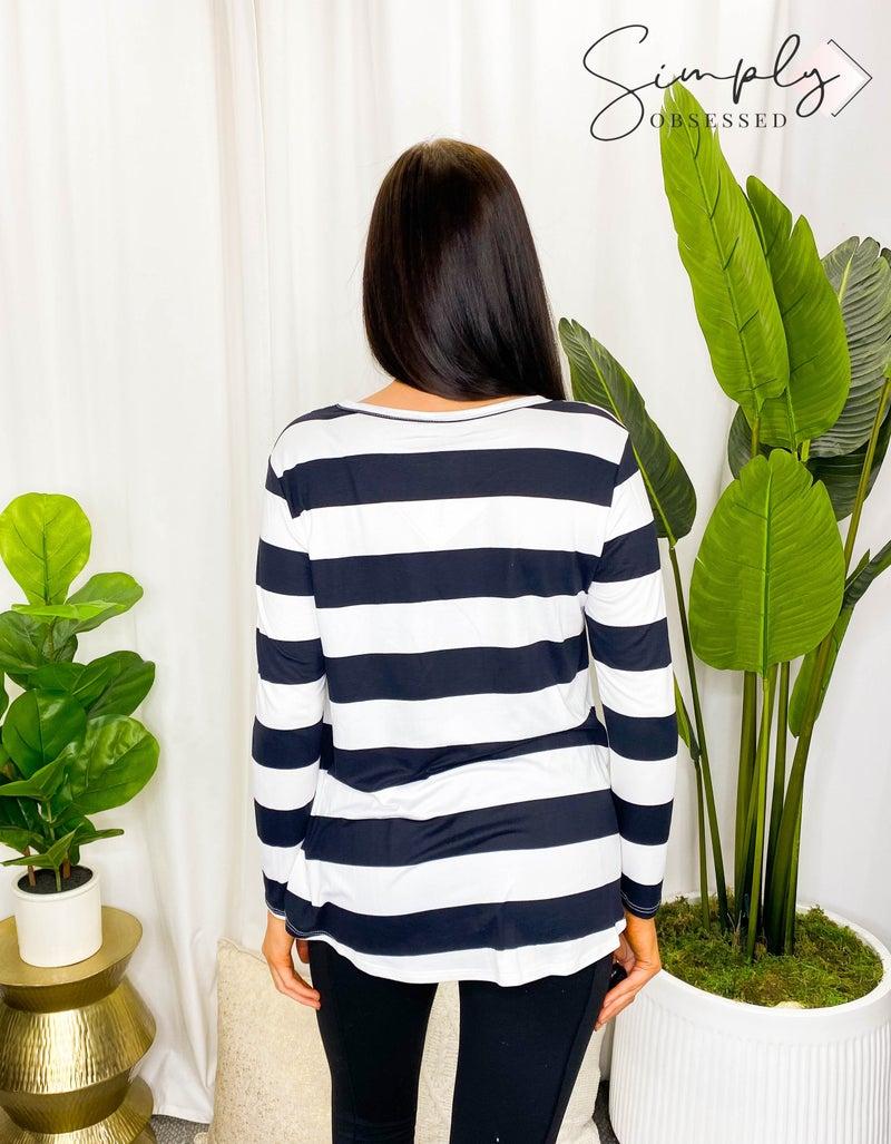 BomBom - Casual bold stripe long sleeve top