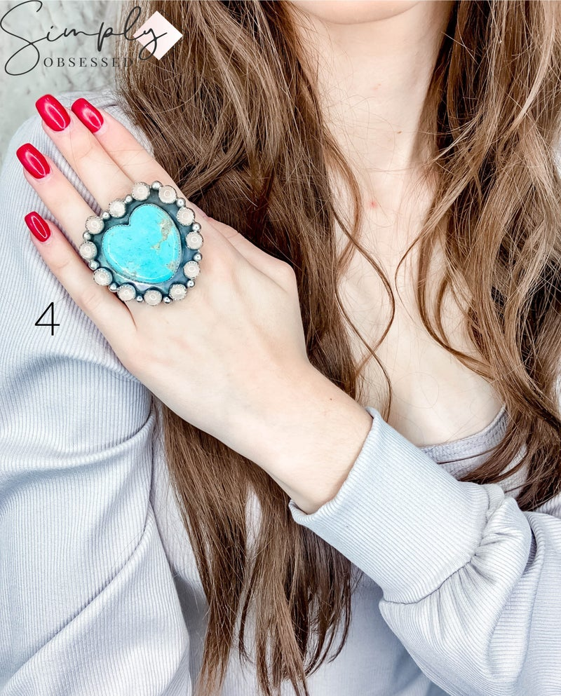 M & S -  Small Turq. Heart W/Moonstone Cluster Ring