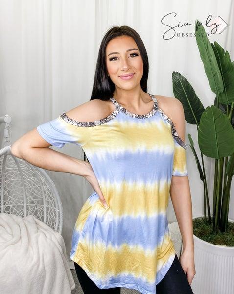 Bibi - Tie dye print cold shoulder top