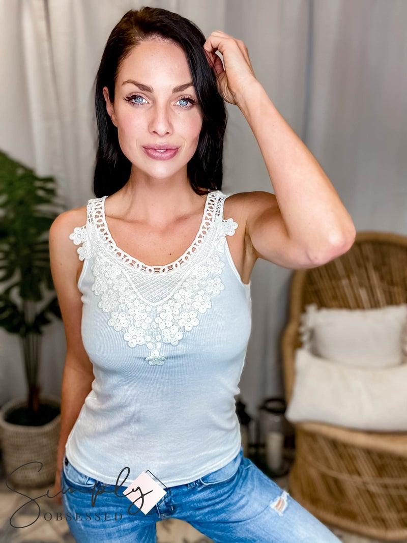 GeeGee LA First Dibs - DOORBUSTER Knit Crochet Trimmed Tank Top
