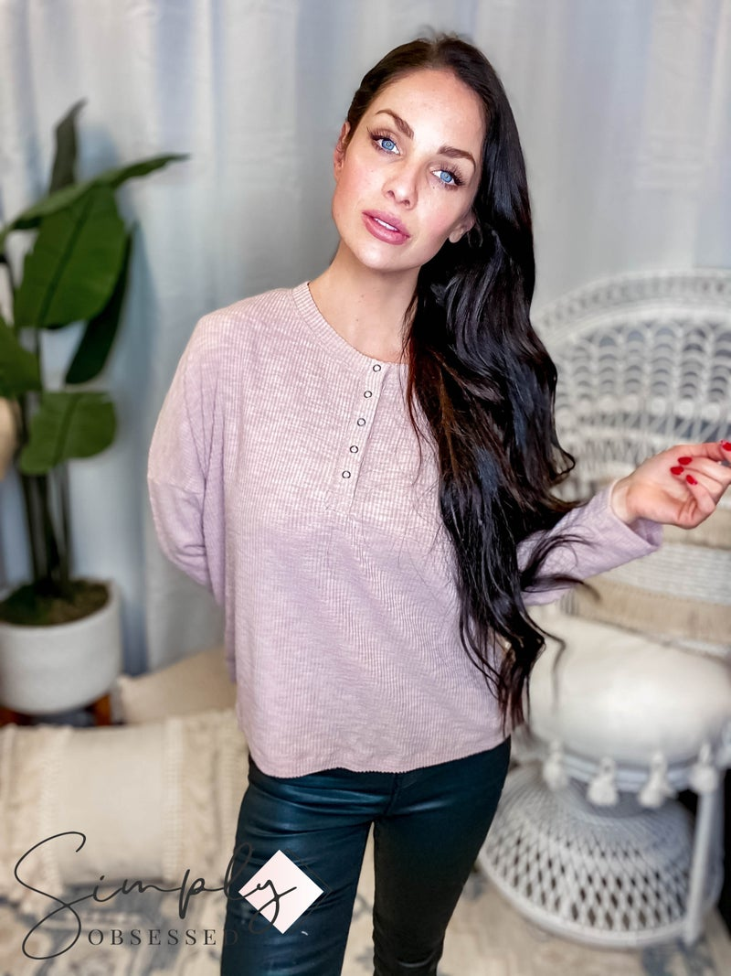 Wishlist - Brushed rib henley knit top
