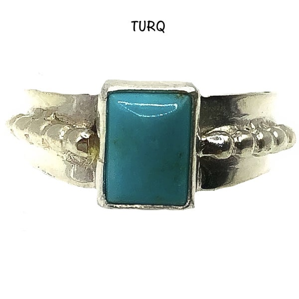 Sterling silver single band ring with square turquoise center stone