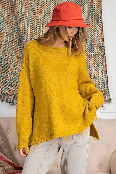First Dibs Easel LA - LS 2Tone Knitted Sweater Loose Fit Pullover