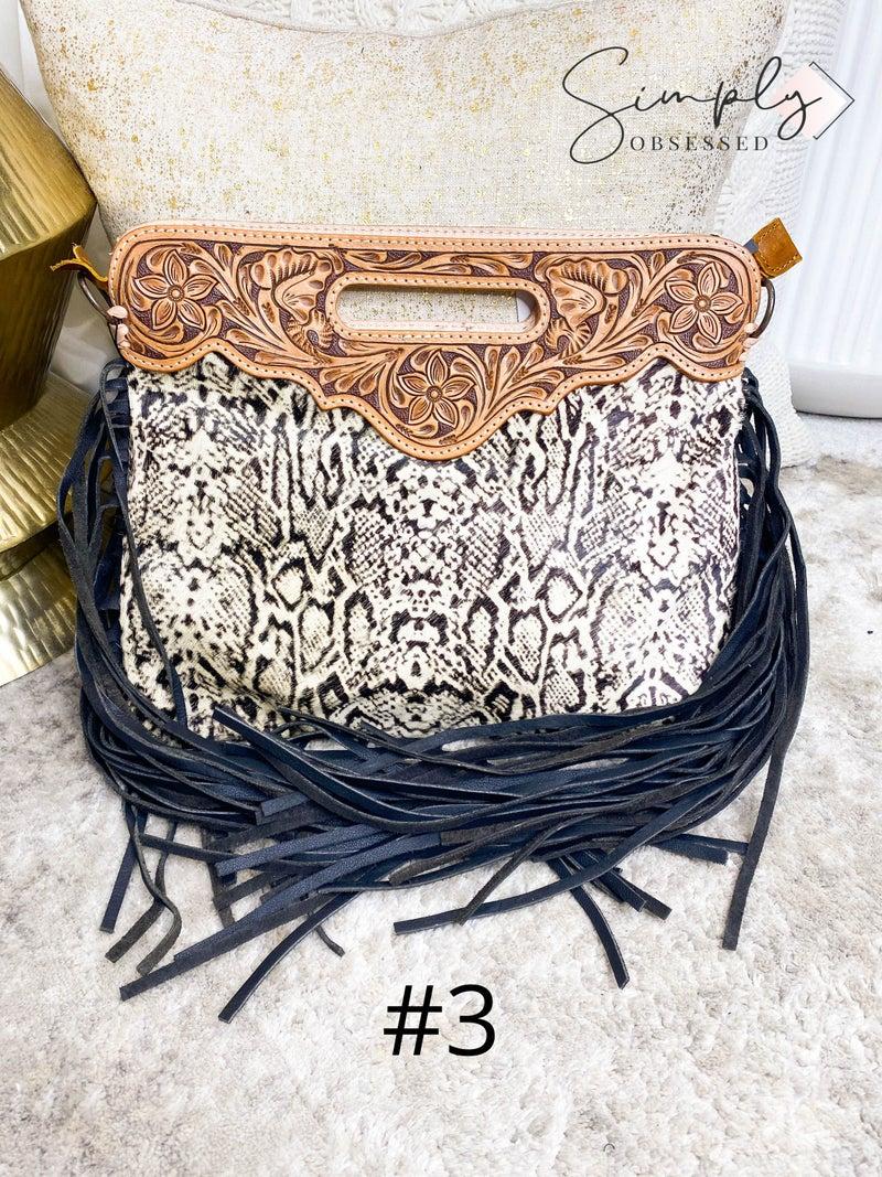American Darling - Hand crafted genuine leather work tassel detail cross body bag