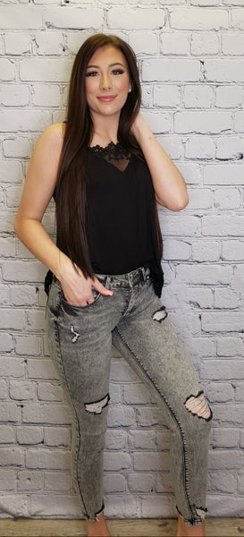 Special A - Mid rise grey skinny jeans