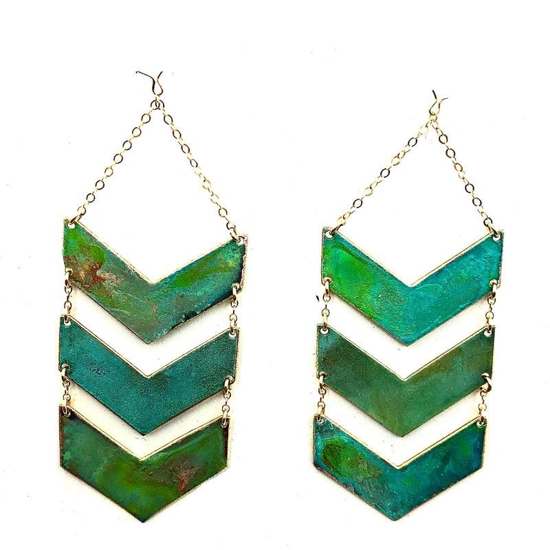 FAIRE - Triple Chevron Patina Earrings