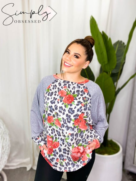 Honey Me - Long sleeve floral animal print contrast top (all sizes)