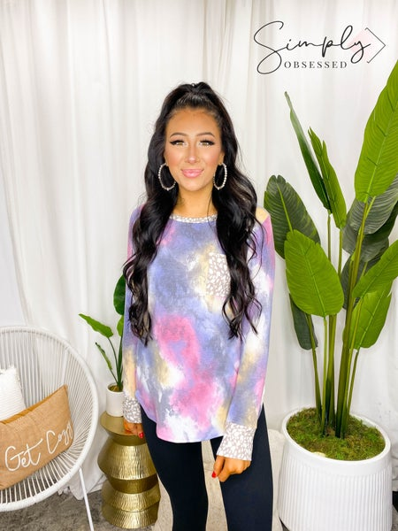 WHITE BIRCH-Long Sleeve Tie Dye Knit Top