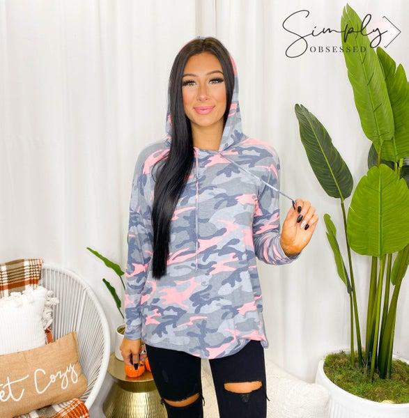 Sew In Love - Long sleeve hooded camo top