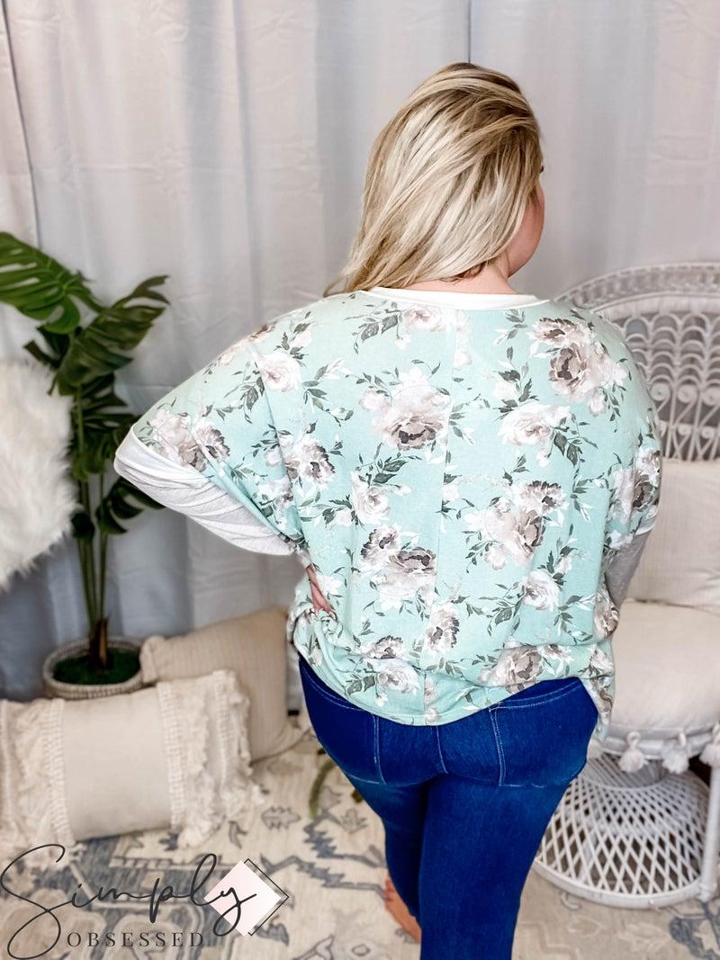 Sew In Love - V Neck Top W/ Contrast Sleeve Stripes