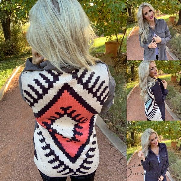 Davi & Dani - Shirt jacket with jacquard sweater knit