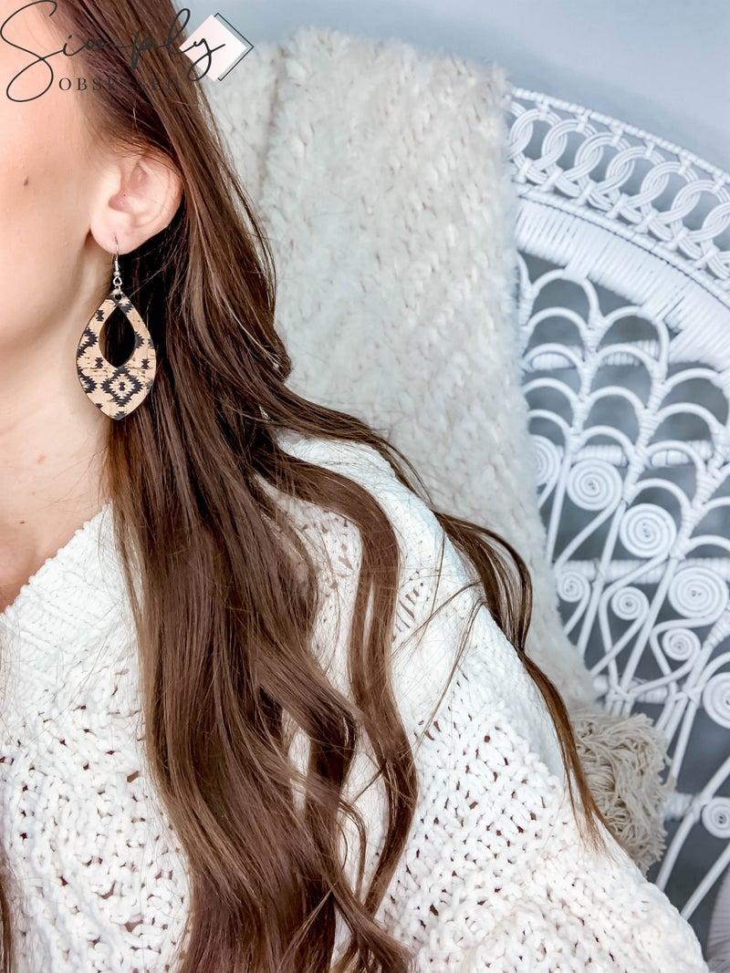 JJ - Aztec Wooden Teardrop  Earrings
