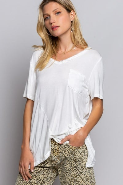 POL - Short Sleeve Back Pleated Top W/ Front Chest Pocket