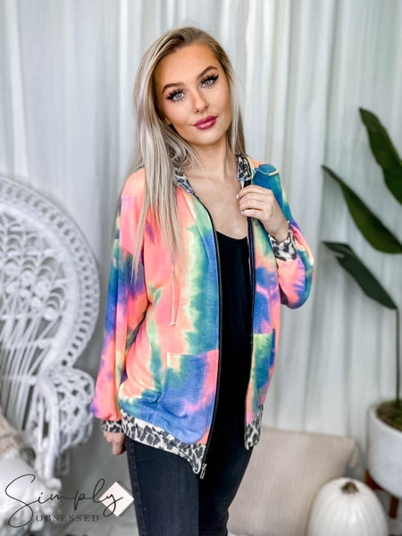 Vanilla Bay - Long Sleeve Tie Die Print Hoodie Zip Up Knit Jacket with Pocket and Leopard Print Contrast