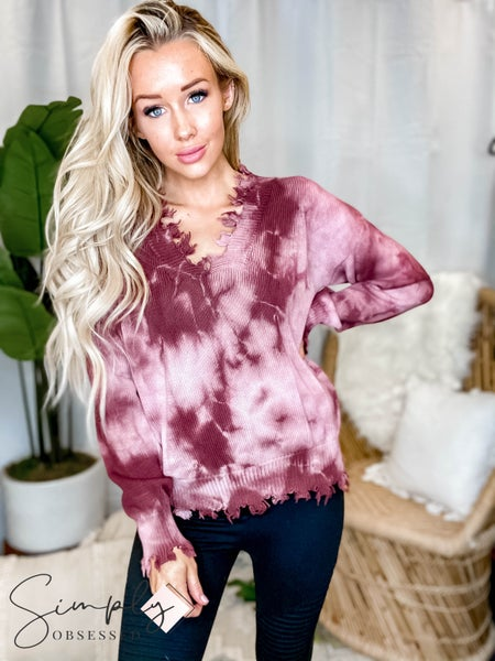 Fantastic Fawn - Long sleeve tie dye knit distressed edge sweater