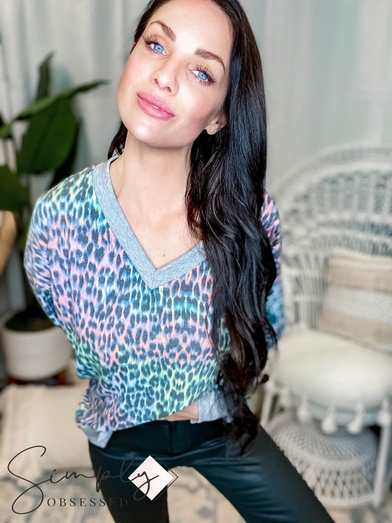 Sew In Love - V Neck Sweater W/ Rib Contrast Detail