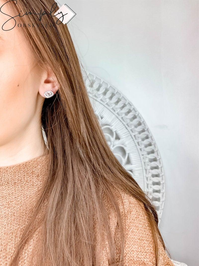 NYJ - Sterling Silver Square Baguette Earrings