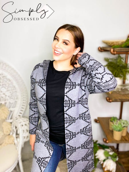Oceanus - Abstract Hooded Open Front Sweater Cardigan