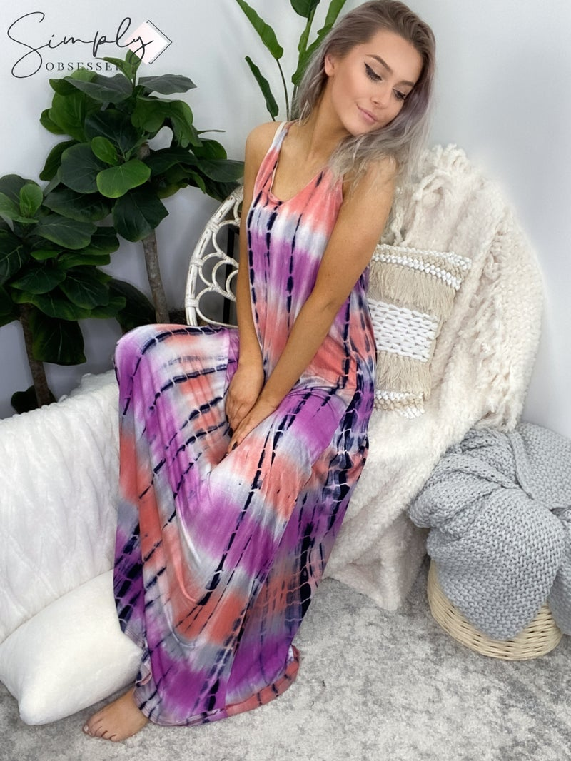 White Birch - Sleeveless tie dye knit maxi dress with v neck and racer back detail