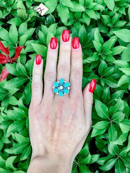M & S - Mini Turq. Flower Ring
