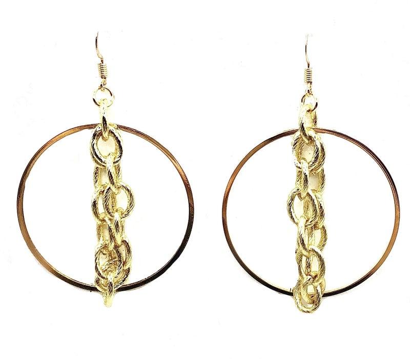 Gold Hoop Earrings W/Chain Detail
