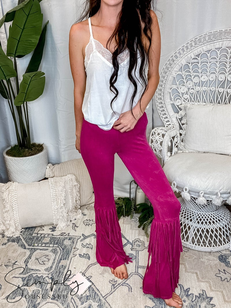 Blue Buttercup - 2 Layers Fringe Mineral Washed Pants