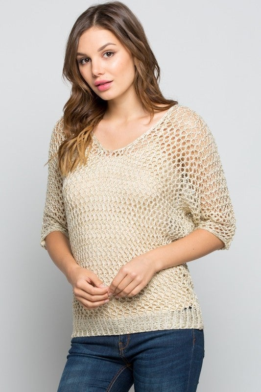 Orlando GeeGee Pre-Sale - Three quarter sleeve batwing open knit sweater