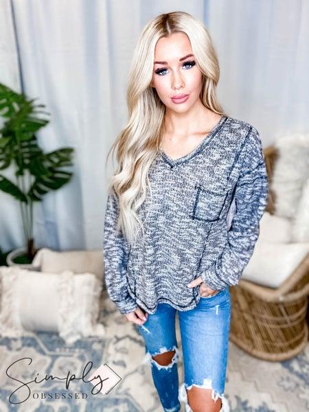 Hem & Thread - V neck oversized knit top