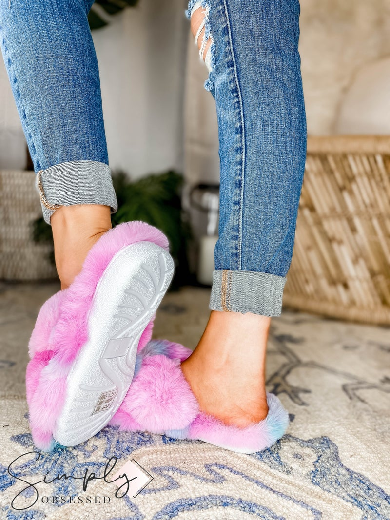 Lets See Style - Furry Tie Dye Winter Slippers