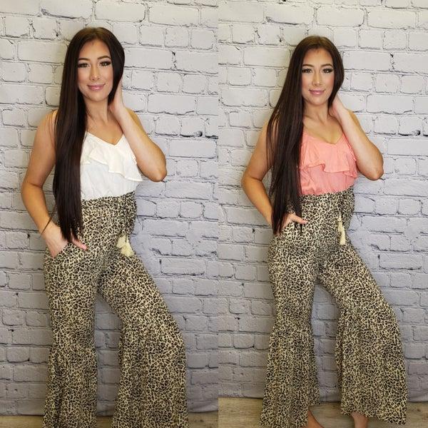 Main Strip - Tassel leopard print flare jumpsuit