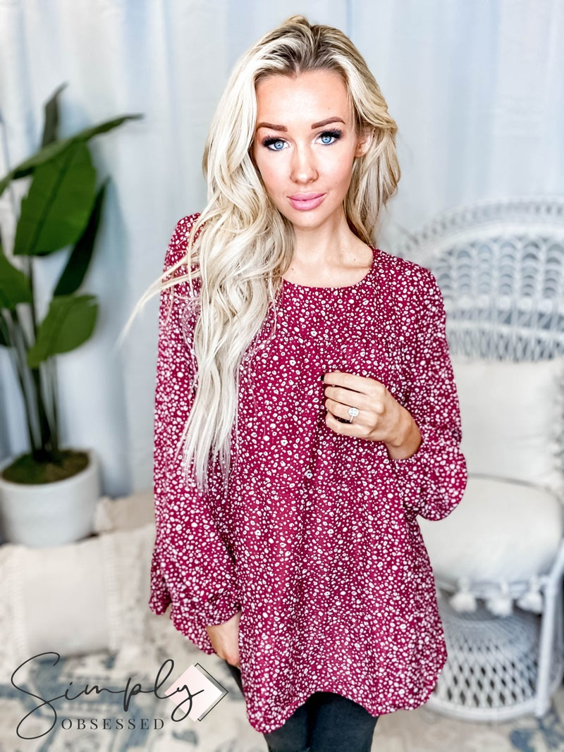 Oddi - Ditsy leopard print long sleeve tiered babydoll top(All Sizes)