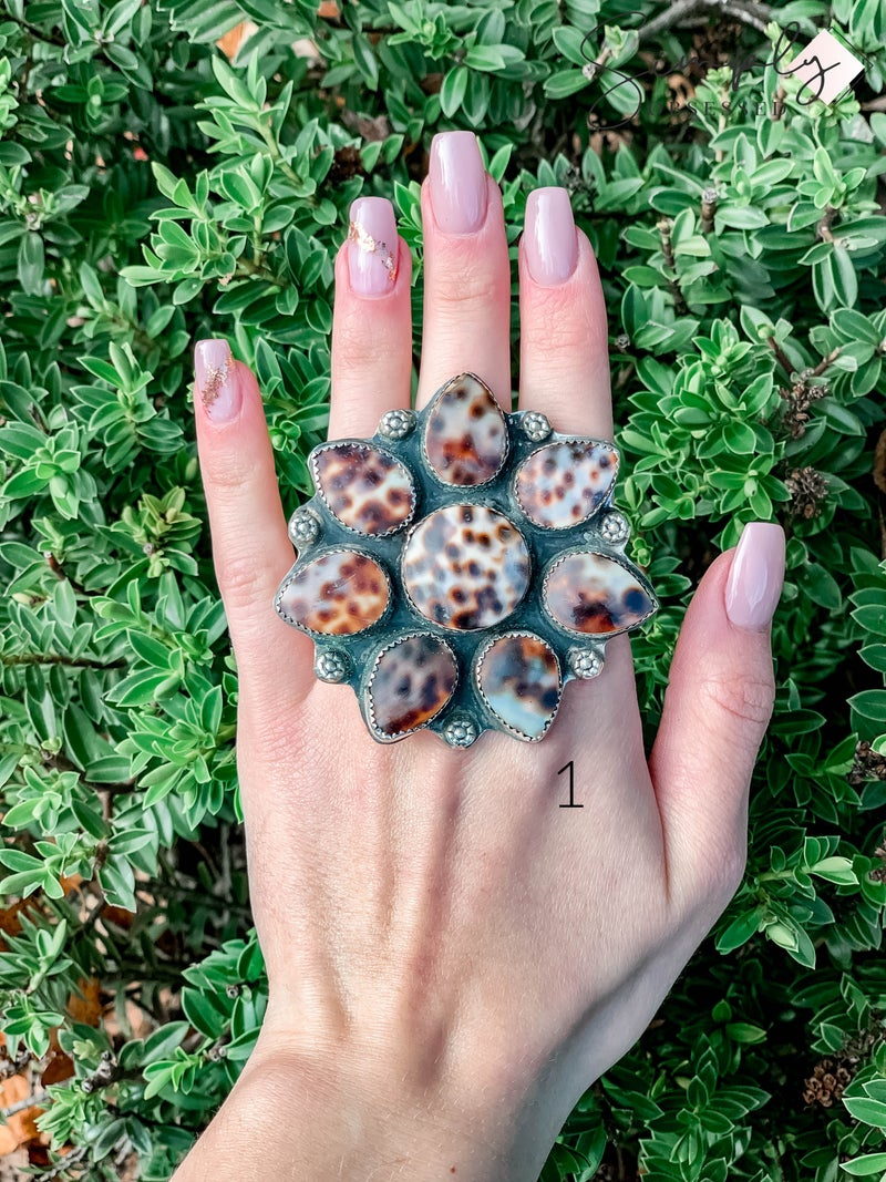 M & S - Pointed Cowrie Flower Ring