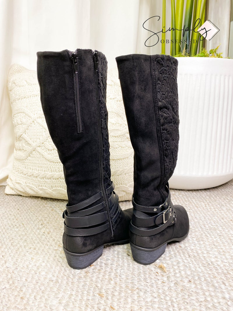 MIAMI SHOES-KNEE HIGH BOOTS WITH SIDE ZIPPER AND THREAD DESIGN