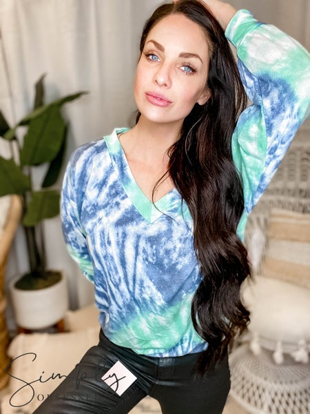 EE:Some - Tie Dye V Neck Long Sleeve Top