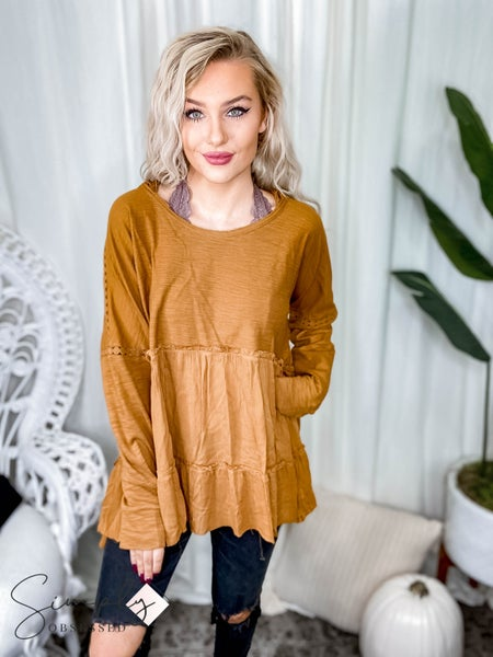First Dibs Hailey & Co - Oversized Long Sleeve Ruffle Top