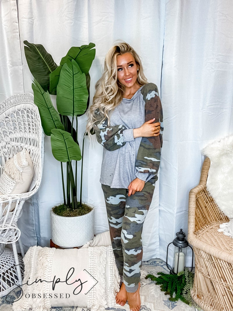 White Birch - Brushed camo print two piece set