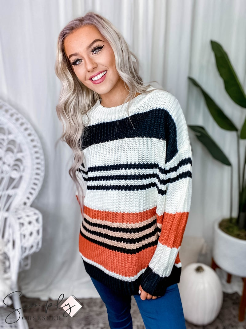 Main Strip - Round neck long sleeve color block loose fit sweater
