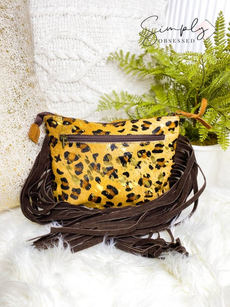 American Darling - Cheetah print small purse with fringe