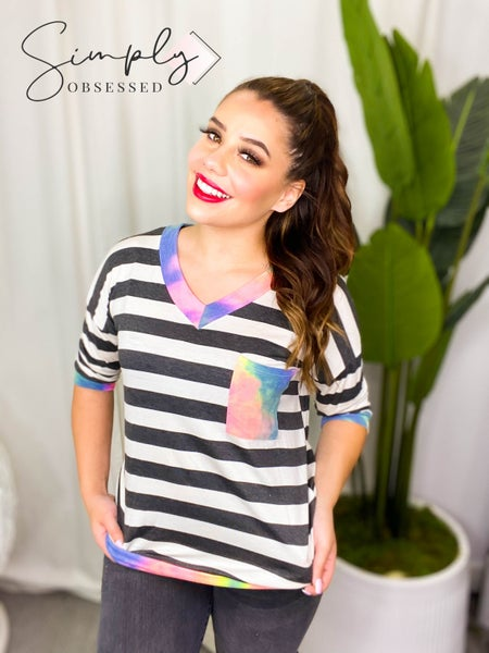 VANILLA BAY-A 3/4 sleeve stripe knit top featuring tie dye contrast v-neck and sleeve band with pocket