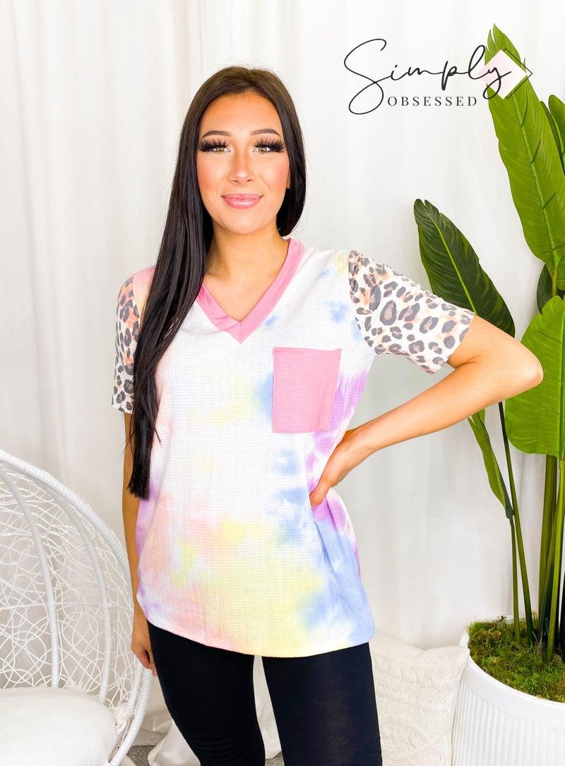 Haptics - Short sleeve tie dye leopard print color block top