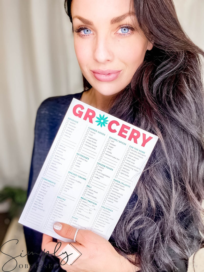"""Bloom - 6"""" x 9"""" Grocery list with magnetic strips to stick on fridge"""