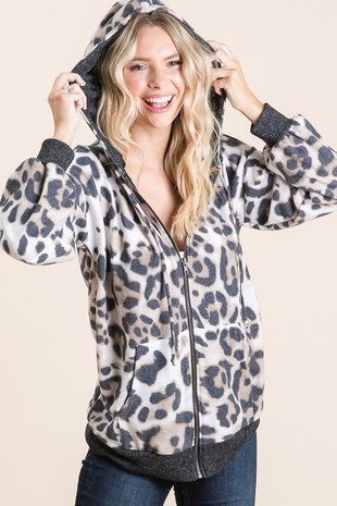 Vanilla Bay - Leopard Brushed Knit Zip Up Hoodie Featuring Drawstring
