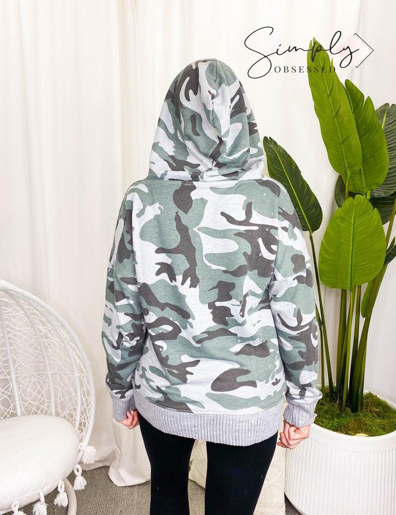 Mazik - Loose fit distressed camo hoodie top