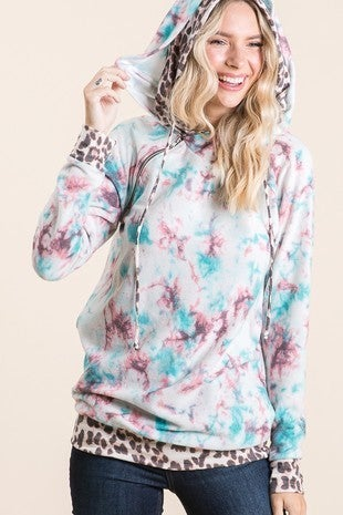 Vanilla Bay - Long sleeve double hooded tie dye top with leopard print and zipper detail