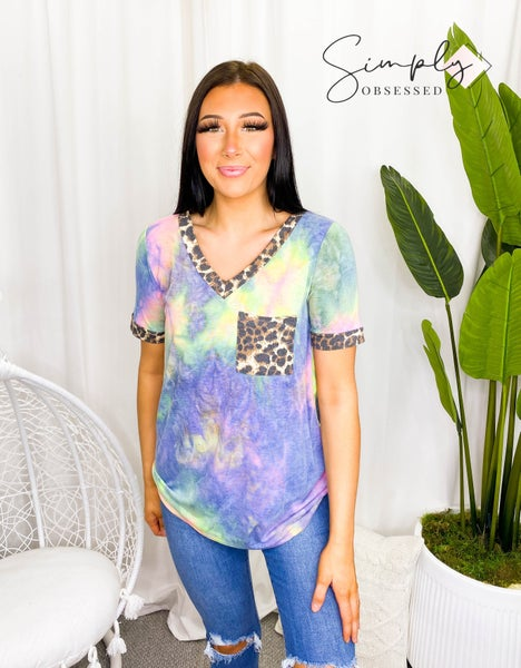 Sew In Love - Tie Dye Short Sleeve Top With Cheetah Detail