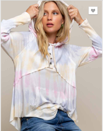 Pol - Hand dip dyed knit top hoodie with button up detail